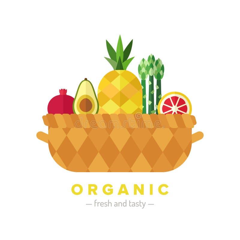 Illustration plate de panier de fruits et légumes Partie deux illustration libre de droits