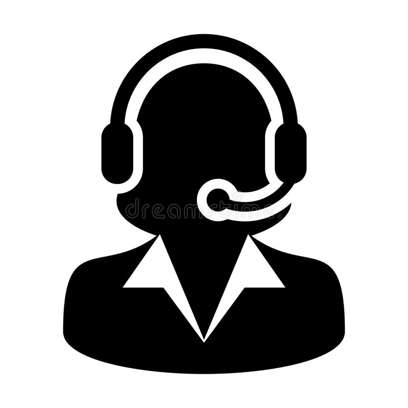 Illustration plate de pictogramme de couleur de vecteur d'icône de service et support de soin de cliente de femme illustration libre de droits