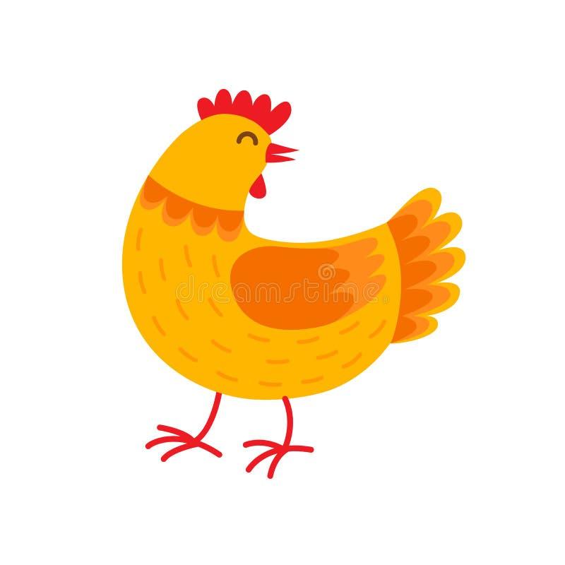 Illustration plate de poule de vecteur orange de personnage de dessin animé Poule dans la conception plate d'isolement sur le fon illustration stock