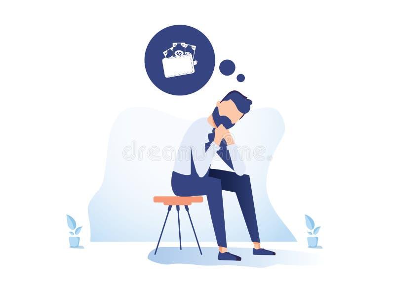 Illustration plate de problème financier de problème d'argent Homme d'affaires déprimé dans le personnage de dessin animé du beso illustration stock