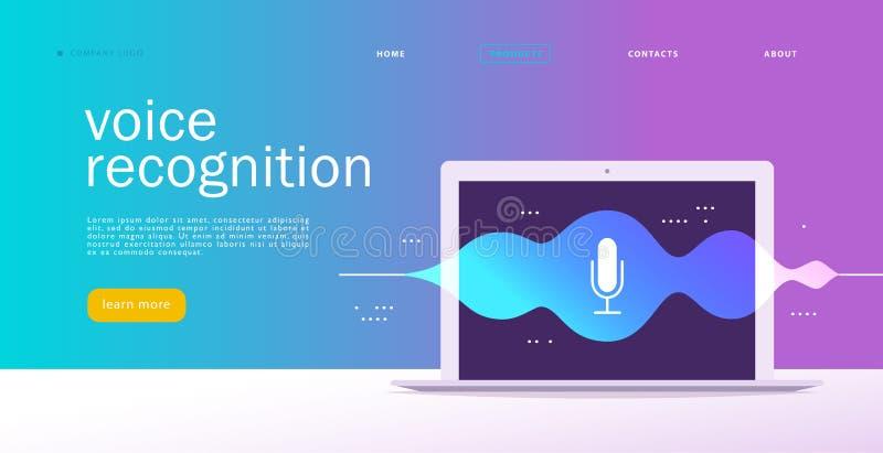 Illustration plate de reconnaissance vocale de vecteur Conception de page d'atterrissage Écran d'ordinateur portable avec les ond illustration stock