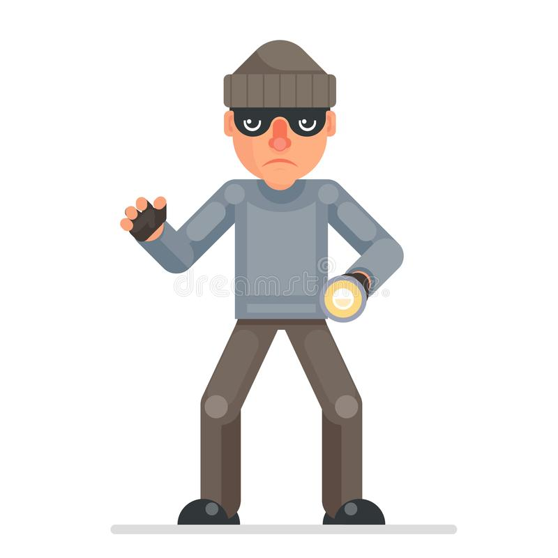 Illustration plate de saisie de vecteur de conception de caractère bulgar d'escroc de bande dessinée de voleur de mal de main de  illustration de vecteur