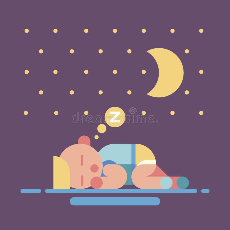 Illustration plate de sommeil de la géométrie mignonne de bébé illustration stock
