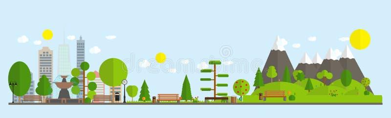 Illustration plate de style de bande dessinée des bâtiments et des parcs urbains de bureau municipal d'horizon de rue de paysage  illustration libre de droits
