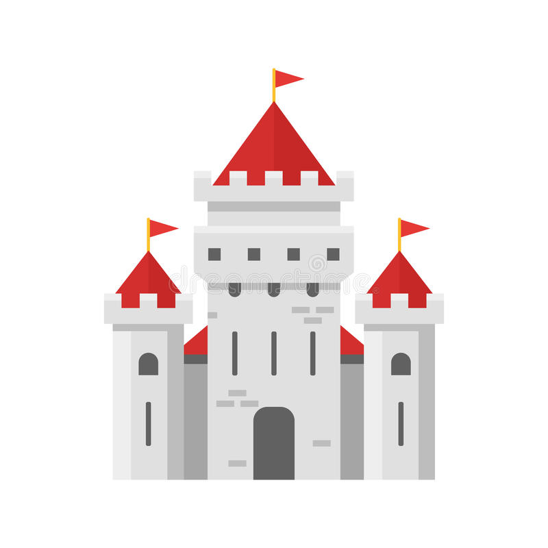 Illustration plate de style de vecteur de château féerique illustration stock