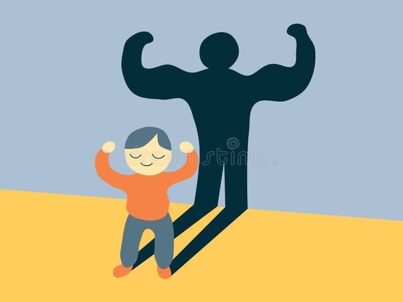 Illustration plate de style de vecteur d'un enfant de sourire de bande dessinée montrant ses muscles illustration libre de droits