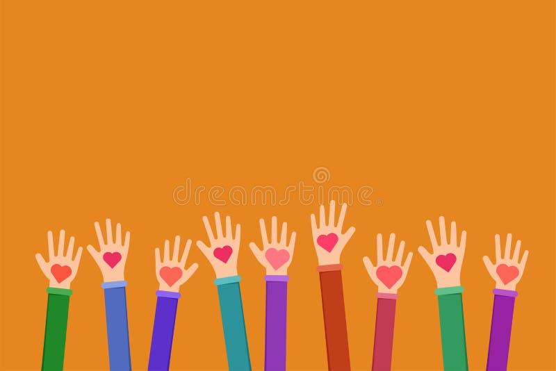 Illustration plate de symbole charitable de travail de la Communauté illustration de vecteur