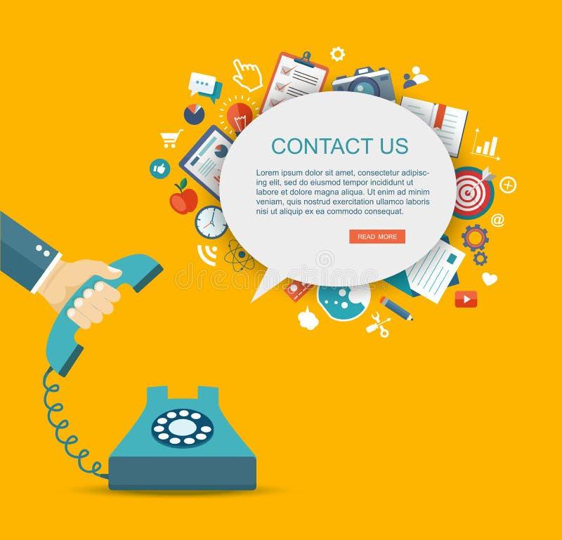 Illustration plate de téléphone de participation de main avec des icônes Téléphone ou courrier illustration stock