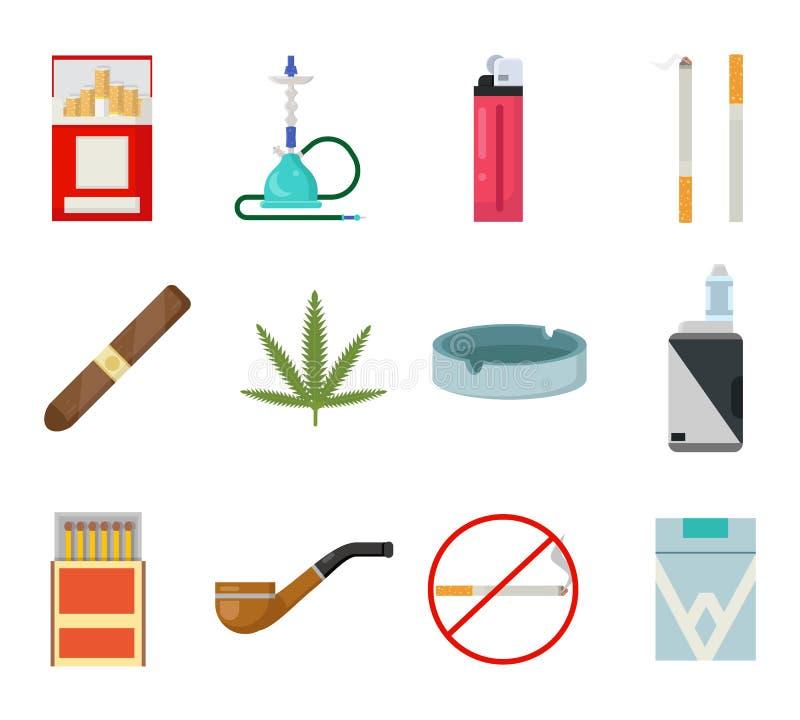 Illustration plate de tabagisme de vecteur de conception d'isolement par cendrier de matchs de narguilé de vape de tuyau de ciga illustration de vecteur