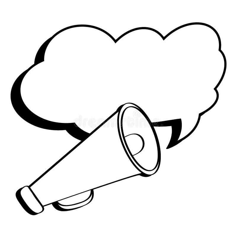 Illustration plate de vecteur avec la rétro bulle de haut-parleur, de corne de brume et de parole dans le style d'art de bruit illustration libre de droits
