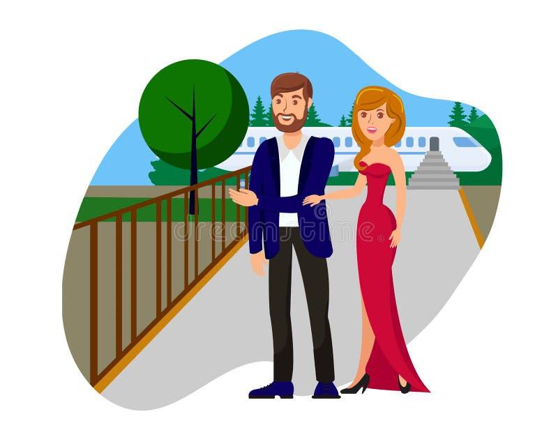 Illustration plate de vecteur de bande dessinée de couples riches illustration de vecteur