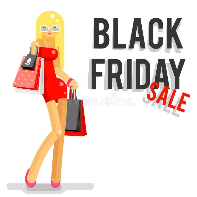 Illustration plate de vecteur de caractère de conception de fille de noir de vendredi de vente de panier d'achat à la mode de paq illustration stock