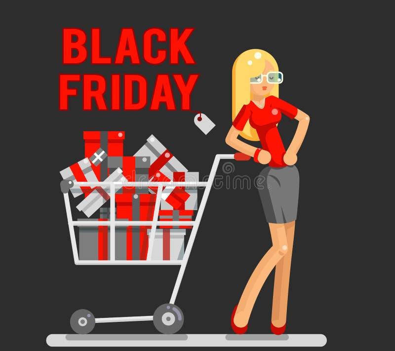 Illustration plate de vecteur de caractère de conception de vendredi de vente de boutique de chariot d'achats de femme de cadeau  illustration de vecteur