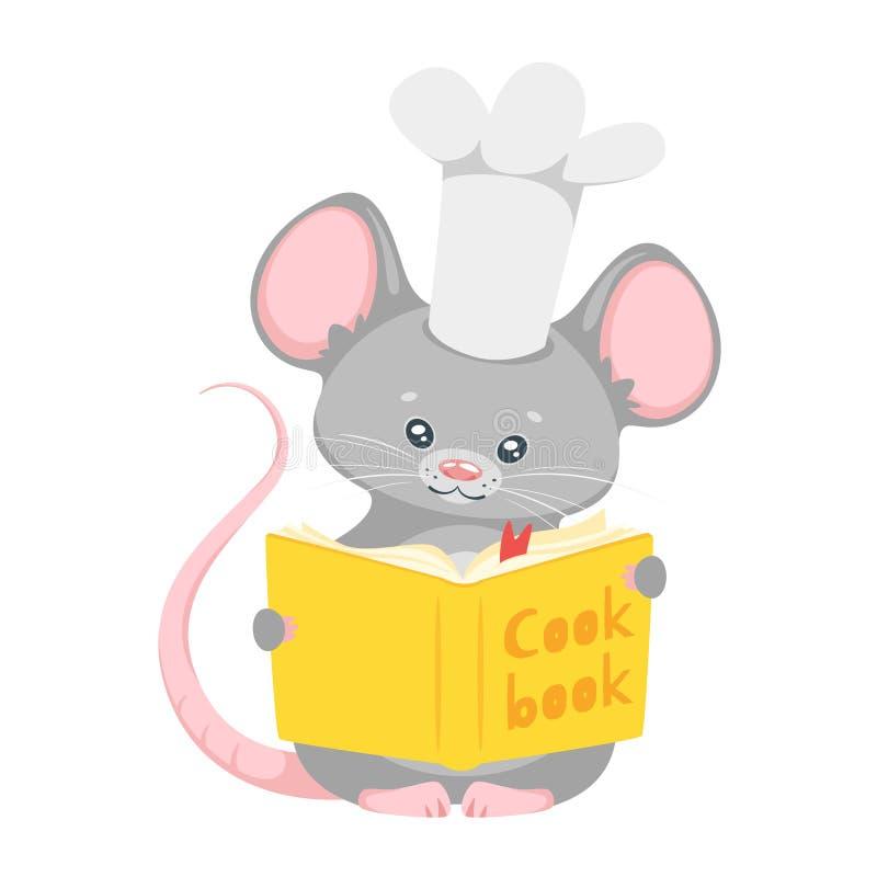 Illustration plate de vecteur de chef mignon de souris illustration stock