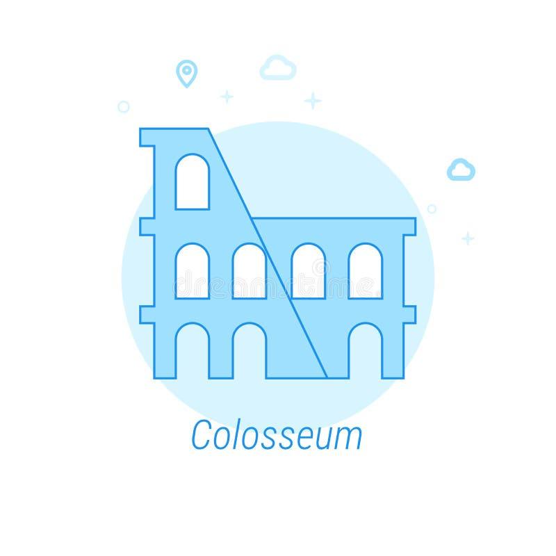 Illustration plate de vecteur de Colosseum, Rome, Italie, icône Conception monochrome bleu-clair Course Editable illustration libre de droits