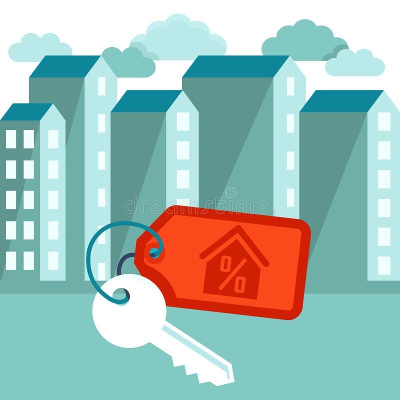 Illustration plate de vecteur - concept d'hypothèque illustration libre de droits