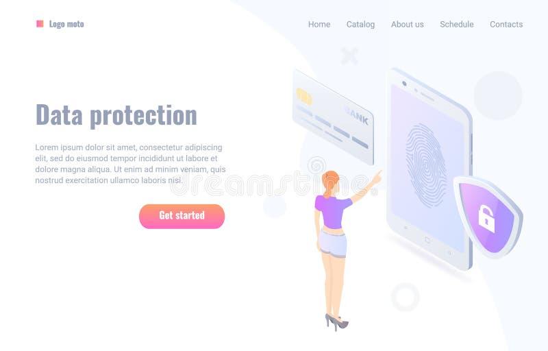 Illustration plate de vecteur de concept de sécurité d'empreinte digitale de paiement illustration de vecteur
