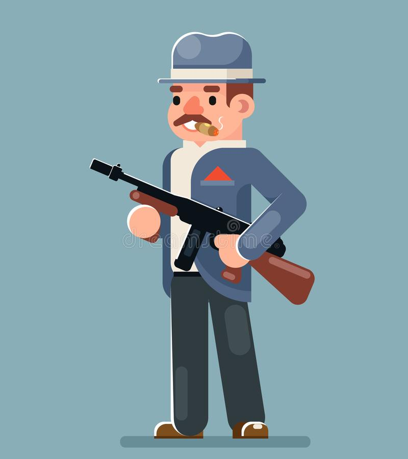 Illustration plate de vecteur de conception de bandit de mitraillette de voyou d'icône criminelle de caractère illustration stock