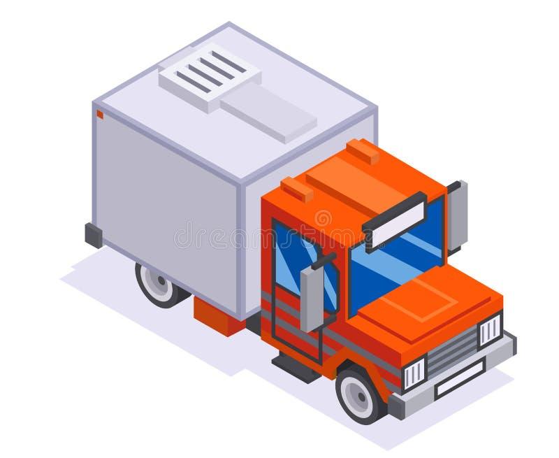 Illustration plate de vecteur de conception d'isolement par voiture isométrique du camion de livraison d'automobile van transport illustration stock
