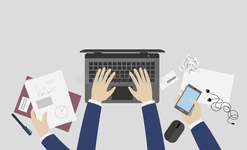 Illustration plate de vecteur de conception du lieu de travail de l'homme d'affaires avec des mains faisant de diverses tâches, o illustration stock