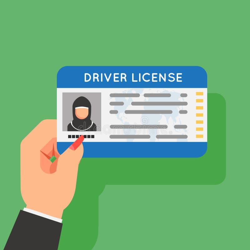 Illustration plate de vecteur de conception de femme de permis de conduire de main de prise de voiture de permis de conduire de p illustration libre de droits