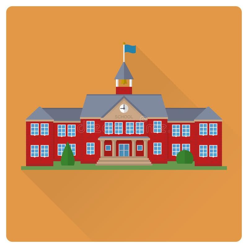 Illustration plate de vecteur de conception de maison d'école illustration stock