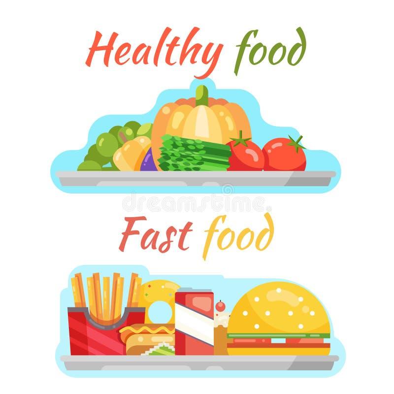 Illustration plate de vecteur de conception de nourriture de prêt-à-manger de soude d'hamburger de hot dog végétal sain de beigne illustration stock