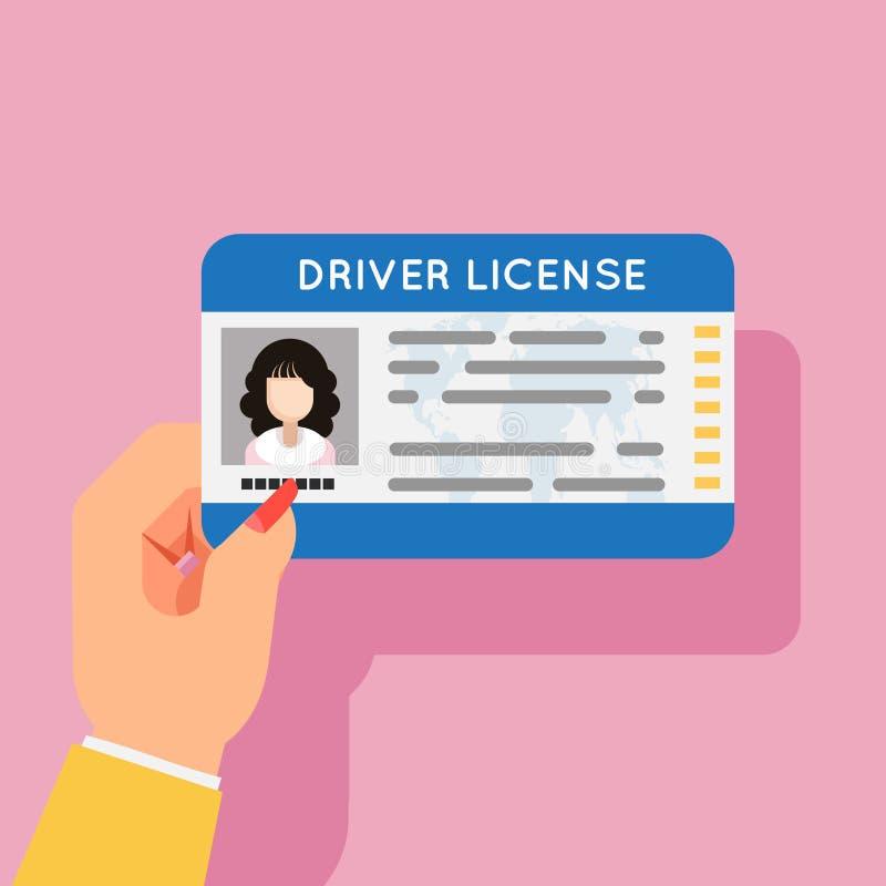 Illustration plate de vecteur de conception de photo femelle d'identification de permis de conduire de voiture de prise de main d illustration de vecteur