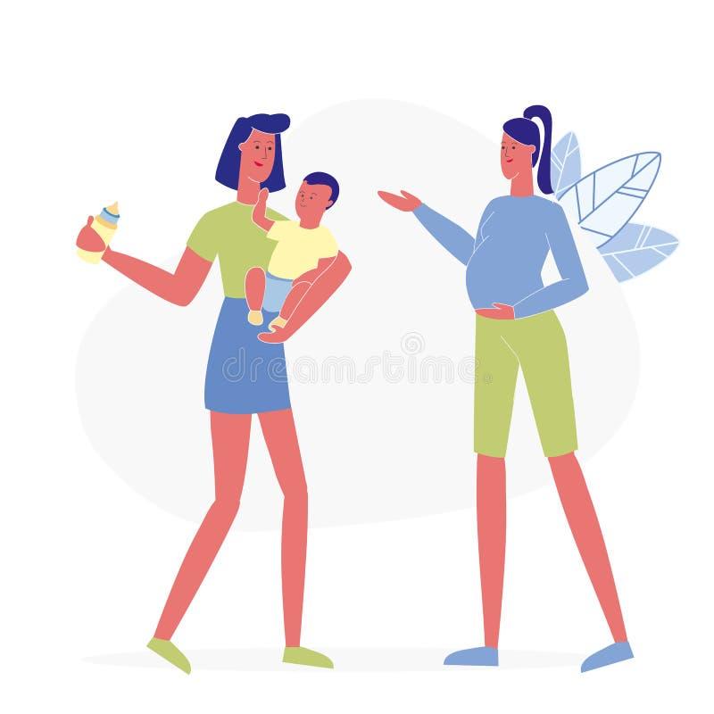 Illustration plate de vecteur de conversation heureuse de mamans illustration libre de droits