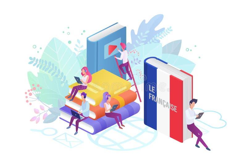Illustration plate de vecteur de cours modernes en ligne de langue illustration stock