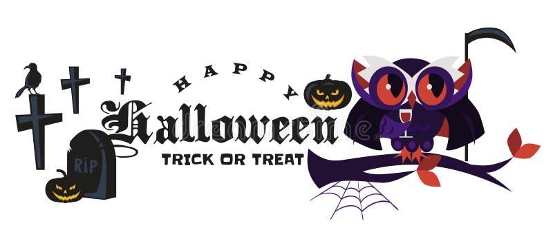 Illustration plate de vecteur d'affiche de hibou de Dracula de logo de Halloween de bande dessinée Nuit-oiseau magique dans le ma illustration de vecteur
