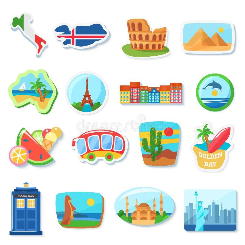 Illustration plate de vecteur d'aimants de réfrigérateur À l'étranger, souvenirs de déplacement de pays étrangers Points de repèr illustration libre de droits