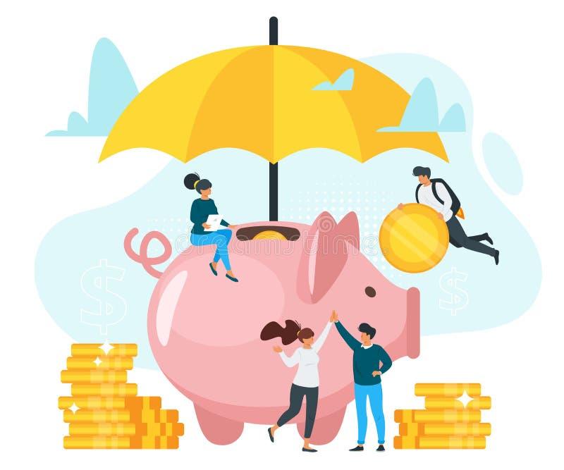 Illustration plate de vecteur d'assurance d'argent illustration libre de droits