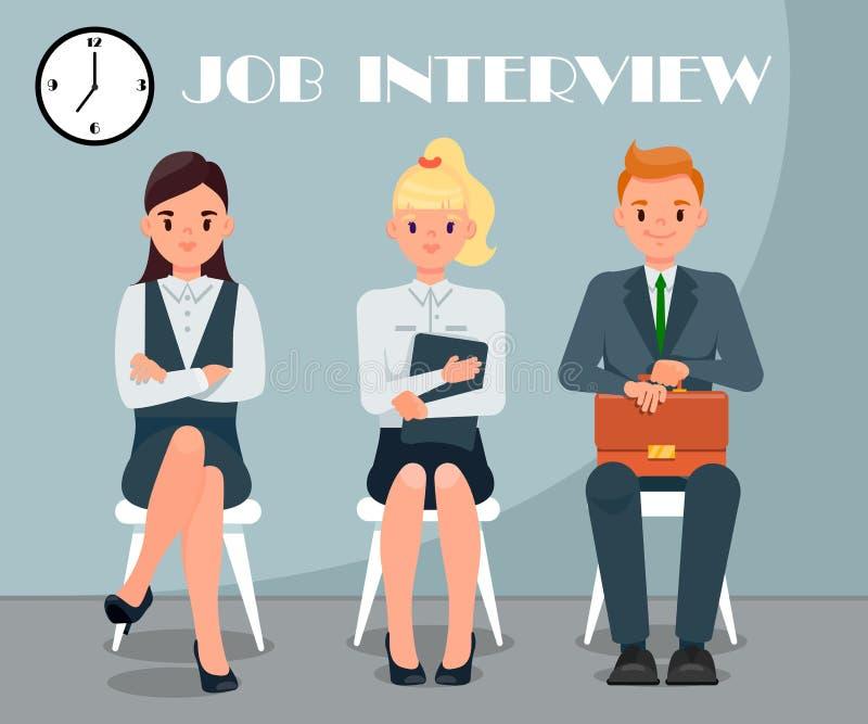 Illustration plate de vecteur d'entrevue d'emploi avec le texte illustration stock