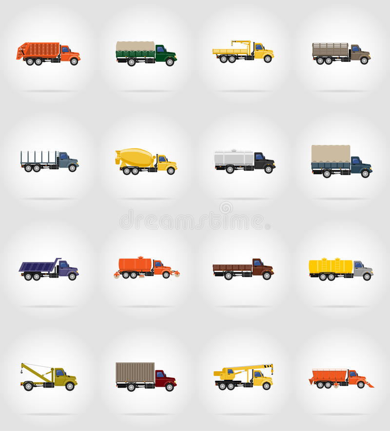 Download Illustration Plate De Vecteur D'icônes De Camion Illustration de Vecteur - Illustration du phares, automobile: 77155881