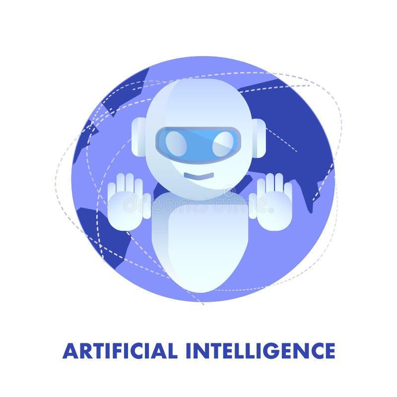 Illustration plate de vecteur d'intelligence artificielle illustration stock