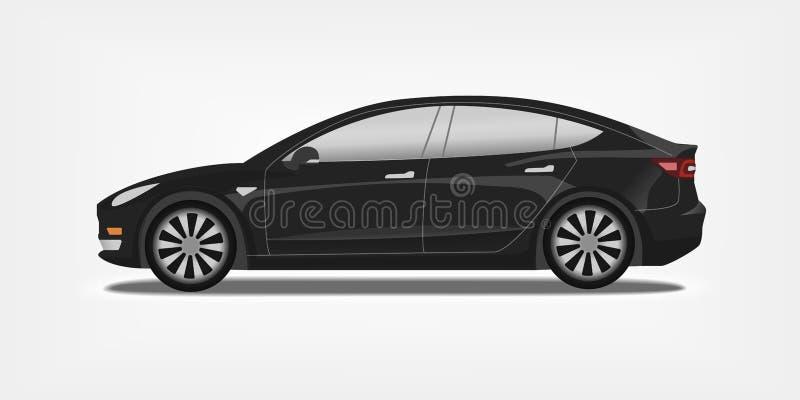 Illustration plate de vecteur d'une voiture électrique noire Électro concept de berline de sport illustration stock