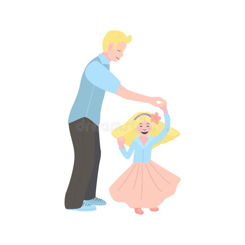 Illustration plate de vecteur danse de papa avec sa fille Homme avec une petite fille illustration de vecteur