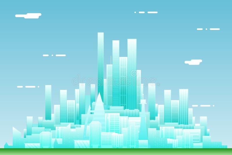 Illustration plate de vecteur de calibre d'icône de concept de construction de paysage de ville de Real Estate d'été de fond urba illustration de vecteur