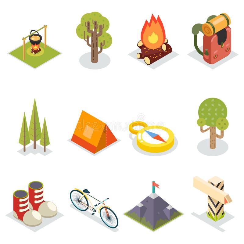 Illustration plate de vecteur de calibre de conception réglée par icônes de touristes isométriques d'accessoires de symboles de r illustration stock