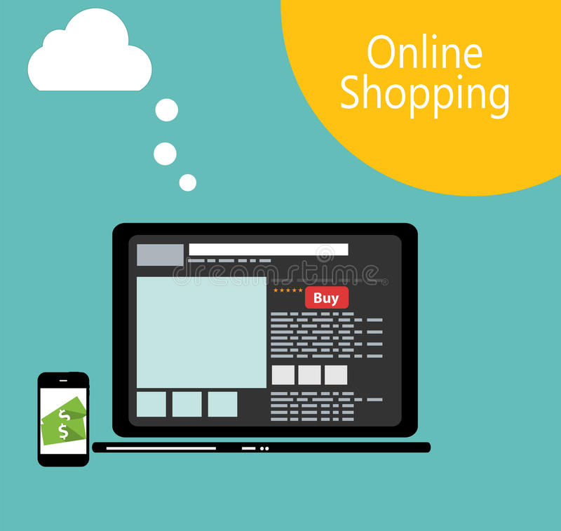Illustration plate de vecteur de concept d'achats en ligne illustration stock