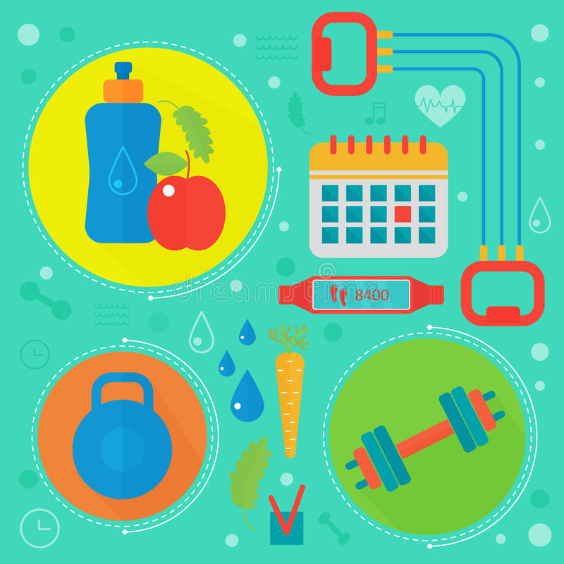 Illustration plate de vecteur de concept de la vie saine Folâtrez, gymnase de forme physique et icônes saines de nourriture illustration libre de droits