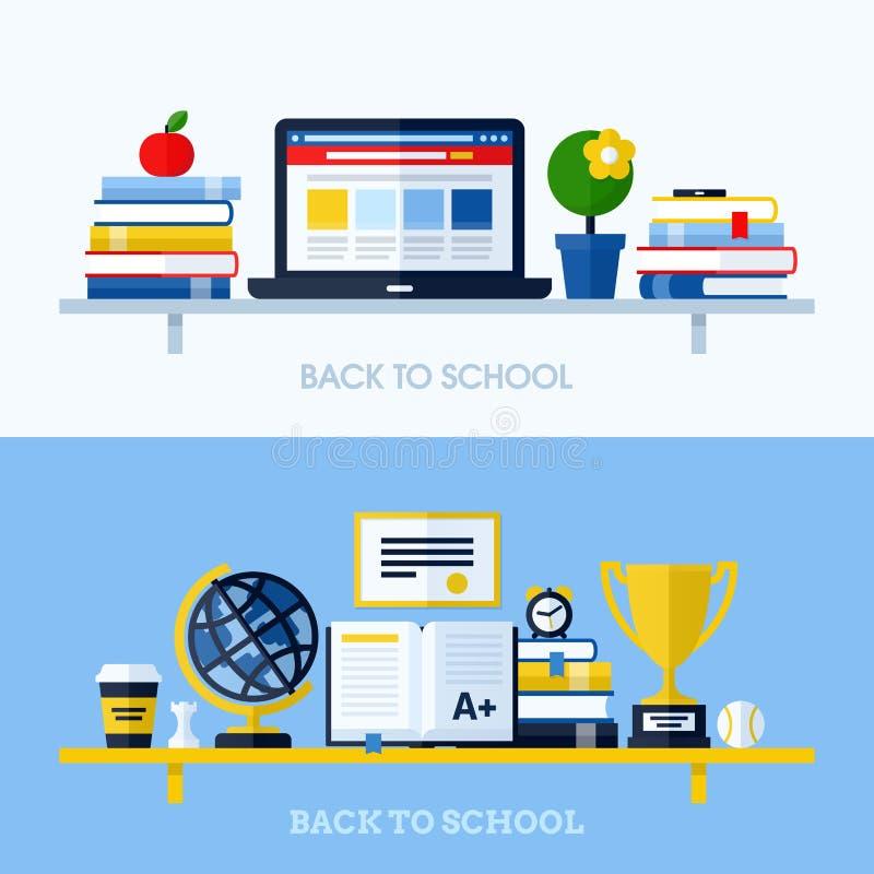Illustration plate de vecteur de conception d'école avec l'étagère illustration stock