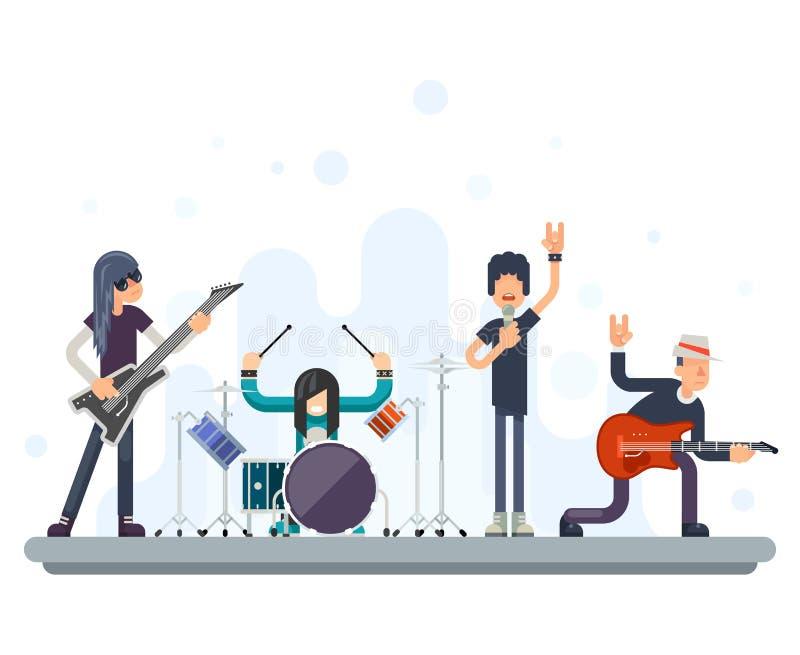Illustration plate de vecteur de conception de Bassist Drummer Concept de hard rock de groupe de groupe de musique d'icônes de ch illustration stock