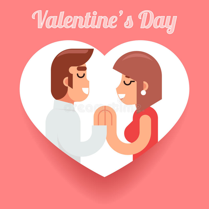 Illustration plate de vecteur de conception de datation de jour de valentines d'homme de femme de symbole de concept aimé romanti illustration libre de droits