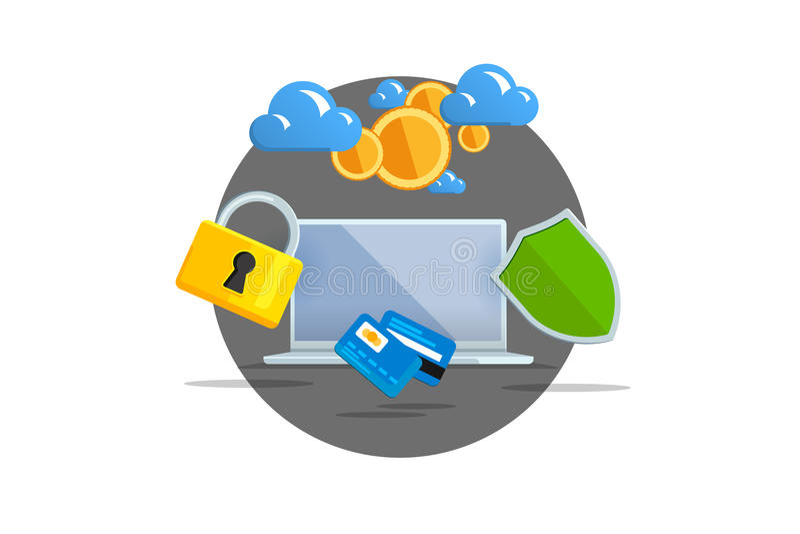 illustration plate de vecteur de couleur sur le fond clair Commerce électronique de concept de visualisation, Bitcoin de extracti illustration stock