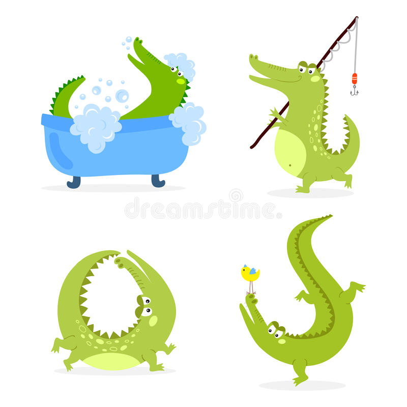 Illustration plate de vecteur de crocodile de bande dessinée de faune de rivière d'alligator australien prédateur drôle vert de r illustration de vecteur