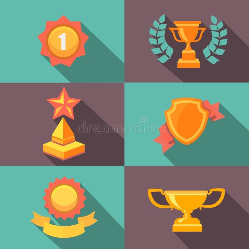 Illustration plate de vecteur de récompenses et d'icônes de trophée illustration de vecteur