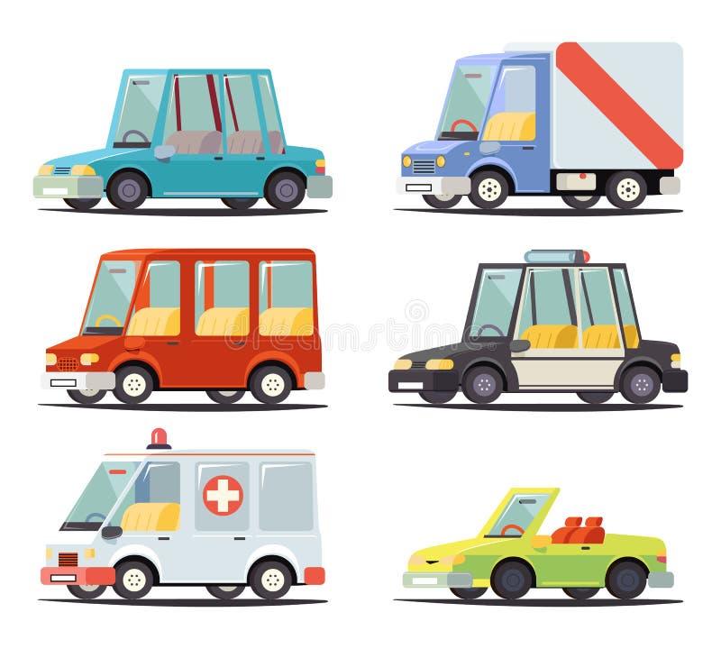 Illustration plate de vecteur de rétro bande dessinée élégante de conception d'icône de véhicule de voiture de transport illustration de vecteur