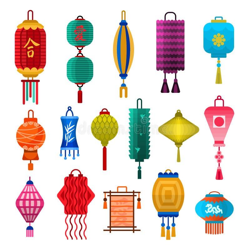 Illustration plate de vecteur de style de lumière chinoise de lanternes illustration libre de droits